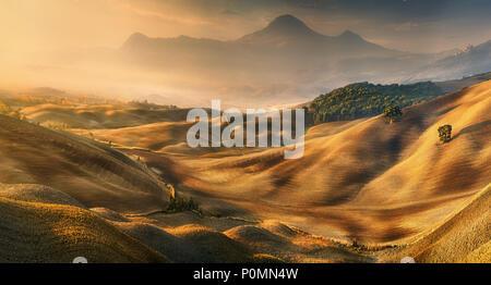 Autumn. Fields.Italy,Tuscany.Province of Siena.Vald'Orcia - Stock Photo