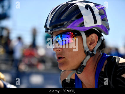 Team Air Force athlete Master Sgt. Lisa Goad, participates in the Department of Defense Warrior Games at the U.S. Air Force Academy in Colorado Springs, Colorado, June 2, 2018. Track and field is one of 11 sports Warrior Games athletes may compete in; other events include archery, cycling, shooting, sitting volleyball, swimming, and wheelchair basketball, and for the first time in Warrior Games history, indoor rowing, powerlifting, and time-trial cycling. (U.S. Air Force Photo by Staff Sgt. Rusty Frank) - Stock Photo