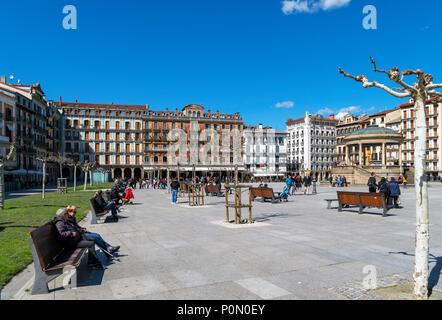Pamplona, Spain. Plaza del Castillo in the old town (casco antiguo), Pamplona, Navarra, Spain - Stock Photo