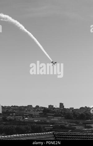 A turn performed during the Red Bull Air Race in Porto, 2017 - Stock Photo