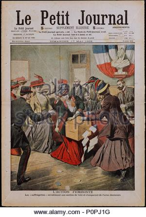 """The suffragettes invade a voting booth and seize a ballot box. From """" Le petit Journal, """" illustrated supplement, title page. May 17,1908 Engraving. Author: SCHOOL: FRENCH. Location: Musee de la Presse, Paris, France. - Stock Photo"""