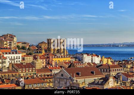 Lisbon view with the cathedral Sé de Lisboa or Igreja de Santa Maria Maior. - Stock Photo