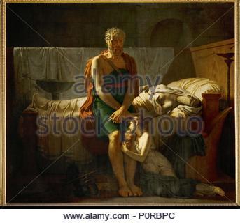 Le retour de Marcus Sextus-the return of Marcus Sextus after his banishment by Sulla, 1799 Canvas, 217 x 143 cm Inv. 5180. Author: Pierre-Narcisse Guérin (1774-1833). Location: Louvre, Dpt. des Peintures, Paris, France. - Stock Photo