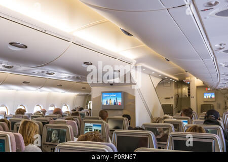 The lower deck of Airbus A 380, a double-deck jet airliner with excellent comfort and space, Copenhagen, April 27, 2018 - Stock Photo