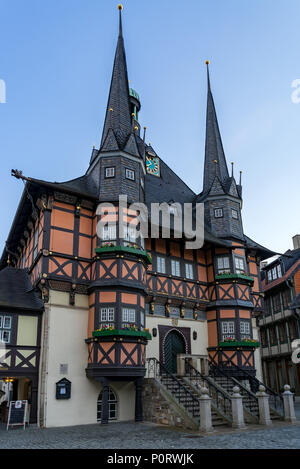 Town hall of Wernigerode (Harz) Germany - Stock Photo