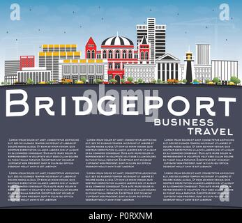 Bridgeport Connecticut City Skyline with Color Buildings, Blue Sky and Copy Space. Vector Illustration. - Stock Photo