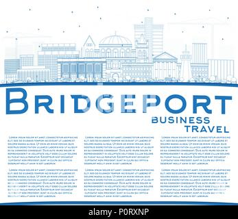 Outline Bridgeport Connecticut City Skyline with Blue Buildings and Copy Space. Vector Illustration. Business Travel and Tourism Concept with Historic - Stock Photo