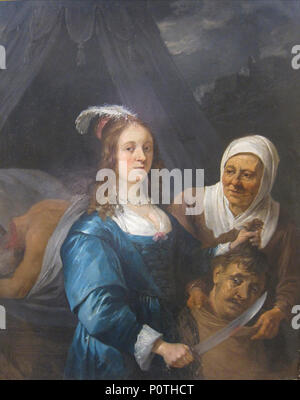 'Judith with the head of Holofernes' by David Teniers the younger, 1650. - Stock Photo