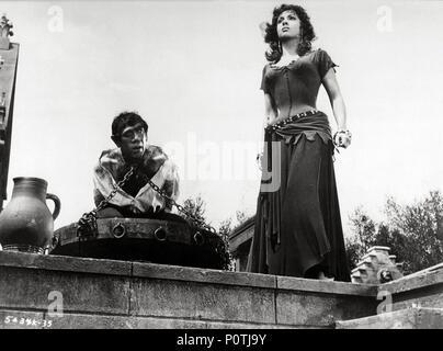 Original Film Title: NOTRE DAME DE PARIS.  English Title: THE HUNCHBACK OF NOTRE DAME.  Film Director: JEAN DELANNOY.  Year: 1956.  Stars: ANTHONY QUINN; GINA LOLLOBRIGIDA. Credit: PARIS-FILM PRODUCTIONS/ALLIED ARTISTS / Album - Stock Photo