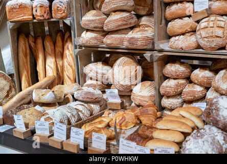 Bread for sale at Daylesford Organic farm summer festival. Daylesford, Cotswolds, Gloucestershire, England - Stock Photo