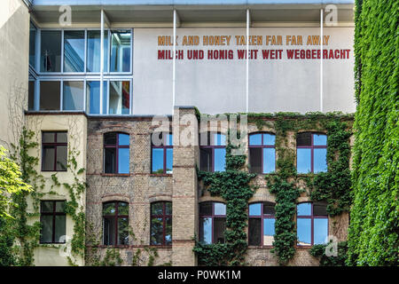 Berlin, Mitte Sophie-Gips-HöfeHistoric 19th century building in Sophienstrasse & late 20th century  addition,Hoffman Gallery. Word art on facade