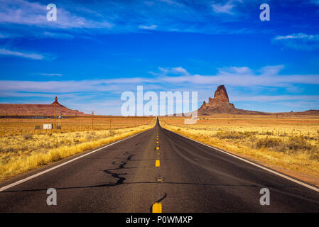 Road leading to Monument Valley in Utah, USA - Stock Photo