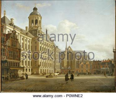 Dam Street and the new City Hall of Amsterdam, Netherlands. Oil on canvas (1668) 73 x 87 cm Inv. 1337. Author: HEYDEN, JAN VAN DER. Location: Louvre, Dpt. des Peintures, Paris, France. - Stock Photo