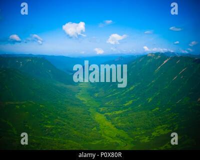 Aerial panorama view to Kamchatka rivers and tundra, Kronotsky Nature Reserve, Kamchatka peninsula, Russia - Stock Photo