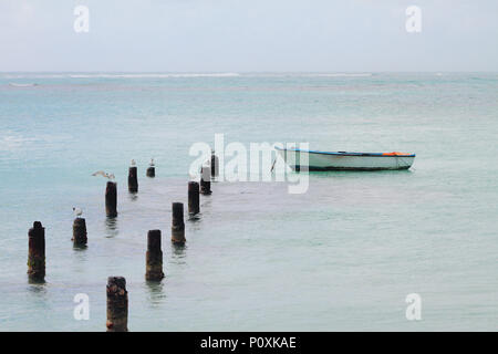 Support of destroyed pier, seagulls and boat. Anse de Sent-An, Pointe-a-Pitre, Guadeloupe - Stock Photo