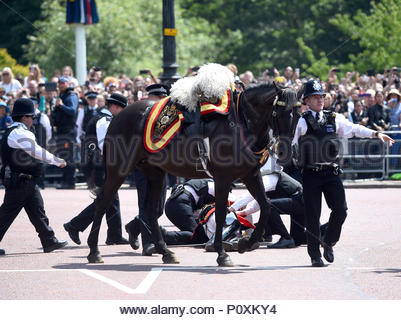 File photo dated 09/06/18 of officers attending to Field Marshal Lord Guthrie of Craigiebank, the former head of the armed forces, who is in hospital after falling from his horse following the Trooping the Colour ceremony. - Stock Photo