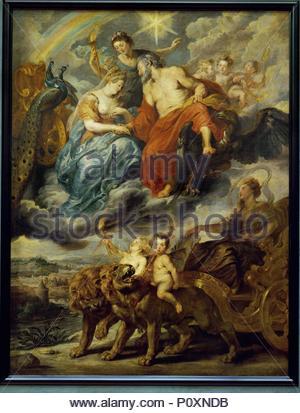 L'Entrevue du Roi et de Marie de Medicis a Lyon, le 9 Novembre 1600. 1622-1625 Canvas,394 x 295 cm INV.1775. Author: Peter Paul Rubens (1577-1640). Location: Louvre, Dpt. des Peintures, Paris, France. - Stock Photo