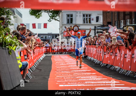 Herning, Denmark, 9th June 2018 UK Sport: Andreas Dreitz on his way to winning the middle distance triathlon in Herning  Credit Northern Sport/Alamy Live News - Stock Photo
