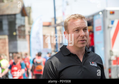Birmingham, UK. 10th June 2018. Sir Chris Hoy at the Lets ride Bimingham event in Birmingham city center in association with HSBC and British cycling. The course is 6.5km long or the most you can do with the course going around the city and beyond. Credit: steven roe/Alamy Live News - Stock Photo
