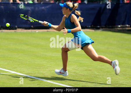 Nottingham Tennis Centre, Nottingham, UK. 10th June, 2018. The Nature Valley Open Tennis Tournament; Katie Swan of Great Britain plays a forehand shot against Paula Badosa Gibert of Spain Credit: Action Plus Sports/Alamy Live News