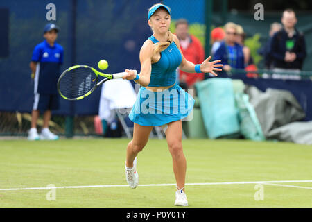 Nottingham Tennis Centre, Nottingham, UK. 10th June, 2018. The Nature Valley Open Tennis Tournament; Katie Swan of Great Britain plays a forehand shot Paula Badosa Gibert of Spain Credit: Action Plus Sports/Alamy Live News