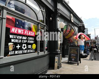 London, UK. 10th June 2018. English pubs prepare for the screening the matches of the FIFA World Cup 2018, supporting football team of England, West Kensington, London Credit: Nastia M/Alamy Live News - Stock Photo