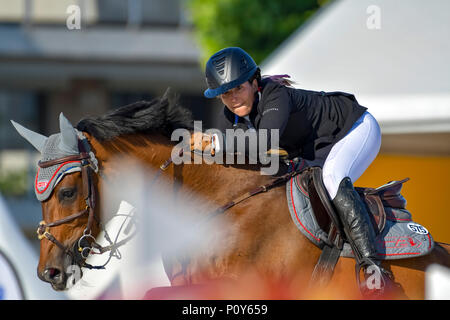 Cannes, France. 09th June, 2018. Israel Danielle Goldstein on Caspar 213 competes during the 2018 Longines Global Champions League in Cannes on June 09, 2018 Credit: BTWImages Sport/Alamy Live News - Stock Photo