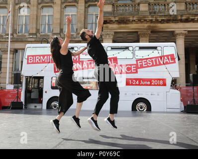 Birmingham, UK. 10th June 2018. Jesus Rubio Gamo, from Madrid, performs with his parnter to Bolero, in Victoria Square, Birmingham, UK, as part of the biennial International Dance Festival, on until June 24th. Credit: Monica Wells/Alamy Live News - Stock Photo