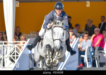 Cannes, France. 09th June, 2018. France Alexis Deroubaix on Timon d'Aure competes during the 2018 Longines Global Champions League in Cannes on June 09, 2018 Credit: BTWImages Sport/Alamy Live News - Stock Photo