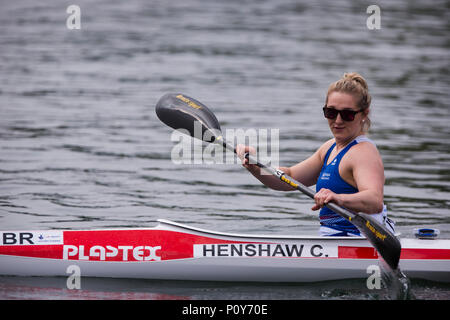 Belgrade, Serbia. 10th Jun, 2018. Charlotte Henshaw of GBR competes in Women's KL2, Final A, 200m sprint race Credit: Nikola Krstic/Alamy Live News - Stock Photo