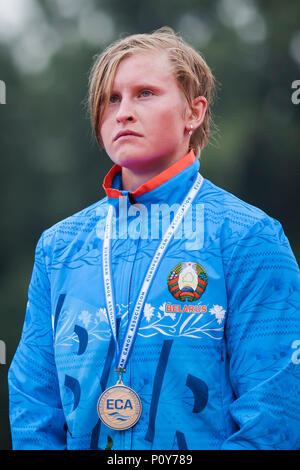 Belgrade, Serbia. 10th Jun, 2018. Volha Klimava of BLR celebrates during the medal ceremony for Canoe Single (C1), 5000m race Credit: Nikola Krstic/Alamy Live News - Stock Photo