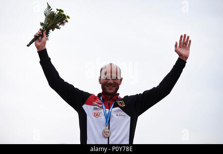 Belgrade, Serbia. 10th Jun, 2018. Max Hoff of GER celebrates during the medal ceremony for Kayak Single (K1), 5000m race Credit: Nikola Krstic/Alamy Live News - Stock Photo