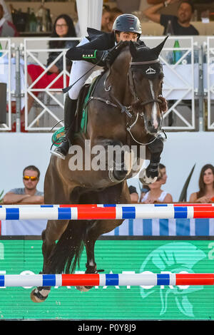 Cannes, France. 09th June, 2018. Egypt Abdel Said Team Rome Gladiators on Callisto competes during the 2018 Longines Global Champions League in Cannes on June 09, 2018 Credit: BTWImages Sport/Alamy Live News - Stock Photo