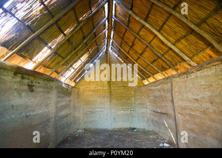 An inside view of an old house in an archeological ethnological park Sopot in Vinkovci, Croatia. - Stock Photo