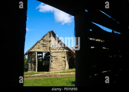 An inside view from an old house in an archeological ethnological park Sopot in Vinkovci, Croatia. - Stock Photo