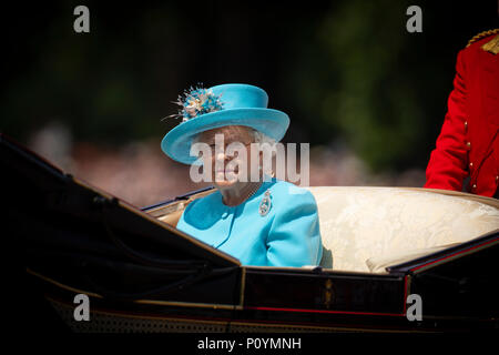 9th June 2018 London UK Britain's Queen Elizabeth leads the British royal family in celebrating her official birthday with the trooping of the colours and a flypast at Buckingham Palace in central London. - Stock Photo