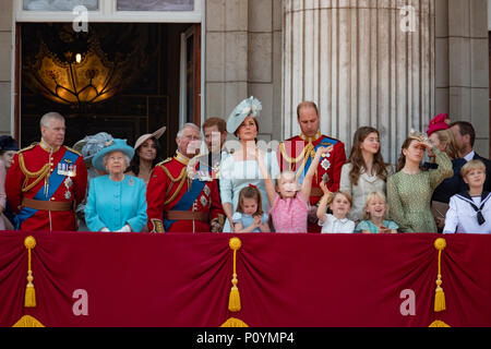 9th June 2018 London UK Britain's Queen Elizabeth leads the British royal family in celebrating her official birthday with the trooping of the colour's and a flypast at Buckingham Palace in central London. - Stock Photo
