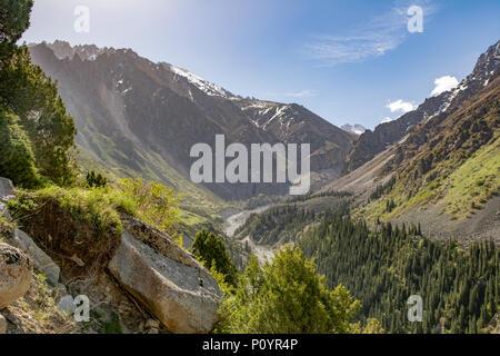 View in Ala Archa National Park, near Bishkek, Kyrgyzstan - Stock Photo