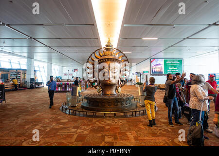 NEW DELHI, INDIA - CIRCA APRIL 2017: Surya bronze statue at Indira Gandhi International Airport, Terminal 3. Surya is the solar deity in Hinduism. - Stock Photo