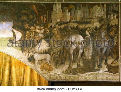 Saint George liberates the Libyan Princess. Mural (around 1435) Pellegrini-chapel of St. Anastasia. Author: Pisanello (1395-1455). Location: Church Santa Anastasia, Verona, Italy. - Stock Photo