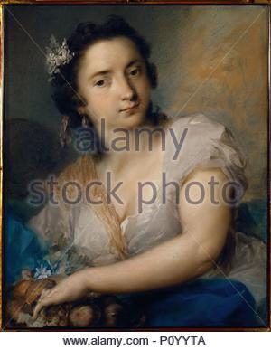 Earth-one of a series of the Four Elements. Paper (1744) 65 x 46 cm Inv. P 52. Author: Rosalba Carriera (1675-1757). Location: Staatl. Kunstsammlungen, Alte Meister, Dresden, Germany. - Stock Photo