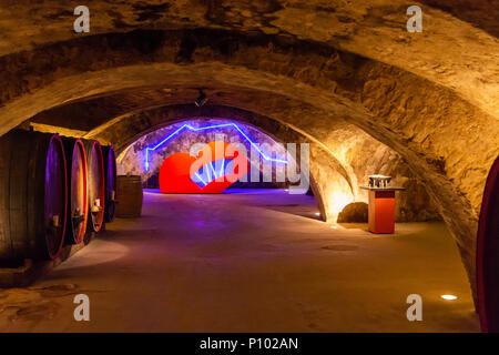 arts exhibition in the cellar of Georg-Müller-Stiftung, Eltville-Hattersheim, Germany - Stock Photo