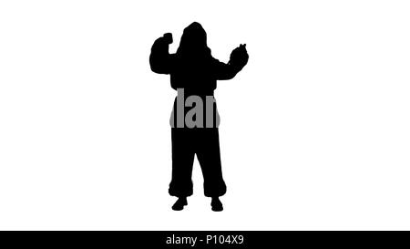 Silhouette Santa wishing merry Christmas and drinking champagne  - Stock Photo