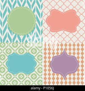Set of frames on seamless backgrounds - Stock Photo