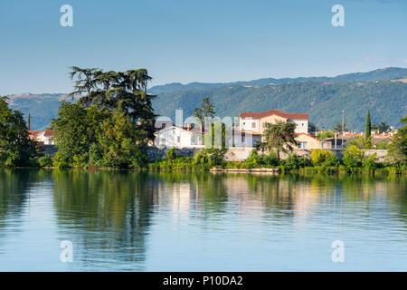 Reflections in the River Rhone Tain l'hermitage Drôme Auvergne-Rhône-Alpes France - Stock Photo