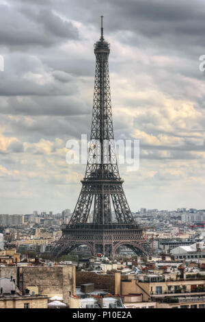 Eiffel Tower seen from Arc de Triomphe. Paris. France - Stock Photo