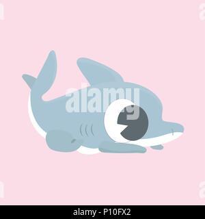 Cartoon shark vector illustration on pastel background. - Stock Photo