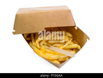 French fries box, fried potatoes french fries with yellow cheese or sauce in brown box isolated white background top view with clipping path. - Stock Photo
