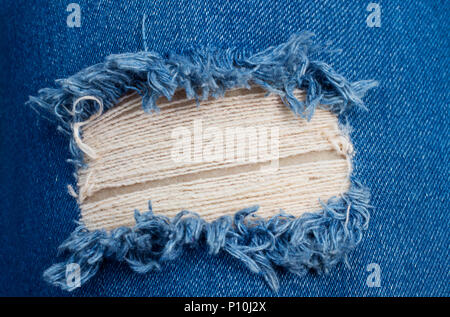 Perspective and closeup view to abstract space of empty blue denim, jeans texture background. - Stock Photo