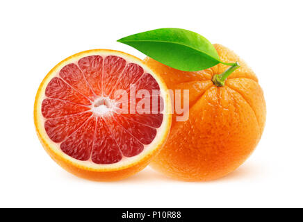 Isolated fruits. One and half blood oranges isolated on white background with clipping path - Stock Photo